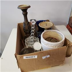 BOX OF VINTAGE CANDLE STICKS, VASES, AND OTHER COLLECTIBLES