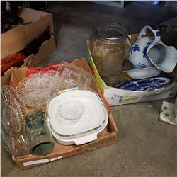 2 TRAYS OF GLASS TRAYS, LARGE PEANUT JAR W/ LID, BLUE WHITE PITCHER, AND PLATES