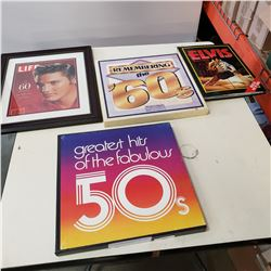 ELVIS PRINT POPUP BOOK AND 50S AND 60S RECORD SETS