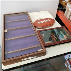 SPOON DISPLAY CASE, TENNIS SHADOW BOX AND FOOTBALL BOOK