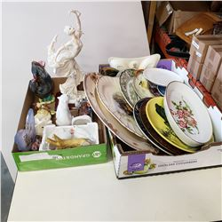 2 TRAYS OF CHINA PLATTERS AND FIGURES