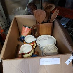 BOX OF WOOD SPOONS, HAND PAINTED CERAMICS, AND POTTERY