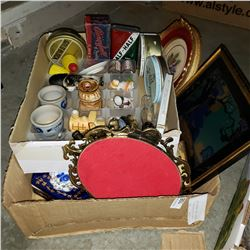 2 TRAYS OF COLLECTIBLES, VINTAGE TINS, DRESSER BOX