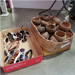 BOX OF COCONUT BOWLS AND SUNGLASSES