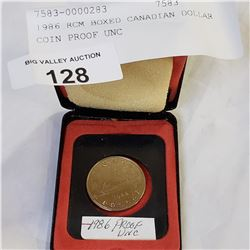 1986 RCM BOXED CANADIAN DOLLAR COIN PROOF UNC