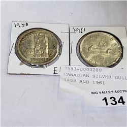 CANADIAN SILVER DOLLAR COINS 1958 AND 1961
