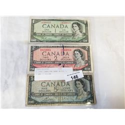 3 1954 CANADIAN BANK NOTES 1, 2 AND 5 DOLLAR