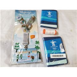 2 VANCOUVER 2010 OLYMPICS WALLETS, LANYARD AND 2007 PROMOTIONAL QUARTERS