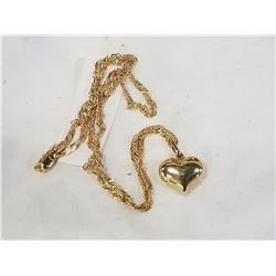 14K LADIES NECKLACE AND HEART PENDENT STAMPED 585