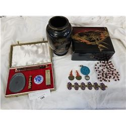 CALLIGRAPHY SET, EASTERN VASE AND JEWELRY