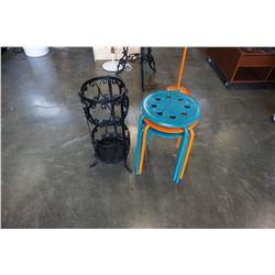 METAL UMBRELLA STAND AND 3 STOOLS