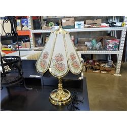 BRASS AND GLASS FLOWER LAMP