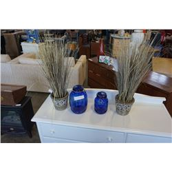 2 ARTIFICIAL PLANTS AND 2 CRACKER BARREL BLUE GLASS CANNISTERS