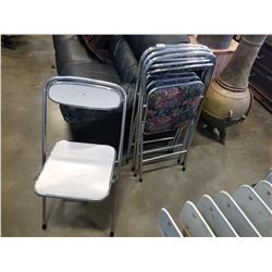 4 FLDING METAL CHAIRS WITH FLOWER PATTERN