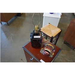 BLUE TABLE LAMP AND WOOD MASK