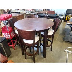 BAR HEIGHT TABLE WITH 4 SWIVEL BAR STOOLS
