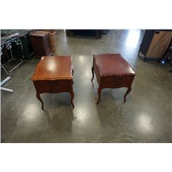 PAIR OF FRENCH PROVINCIAL 2 DRAWER END TABLES