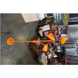 MCM ORANGE TRI LIGHT FLOOR LAMP