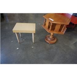 MAPLE ENDTABLE AND MCM ENDTABLE