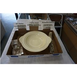 WEDGEWOOD 10 INCH PLATTER, ESKIMO SLED AND HUSKY CARVING AND 2 GLASS BLOCK ETCHINGS