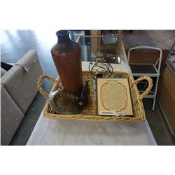 TRAY OF COLLECTIBLES WITH METAL VASE AND INSPIRATIONAL CANDLE HOLDER