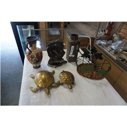 2 BRASS TURTLES, STONE CLOCK AND POTTERY VASES