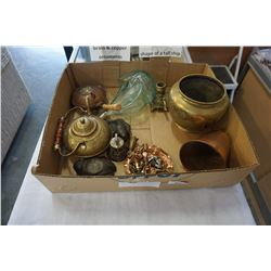 COLLECTION OF BRASS AND COPPER ORNAMENTS AND GLASS DECANTER