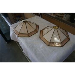 2 LEADED GLASS SHADES