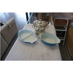 2 BLUE PYREX DISHES AND ICE BUCKET