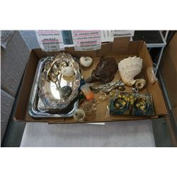 LOT OF ANTIQUE COLLECTIBLES, ROGERS PLATTER, MAHOGANY TURTLE, ETC