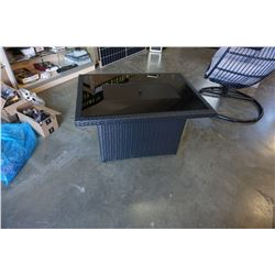 BRAND NEW RATTAN AND GLASS TOP FIRE TABLE 55,000 BTU, CSA APPROVED - RETAIL $999
