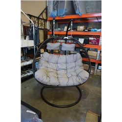 BRAND NEW OUTDOOR DOUBLE FOLDABLE HANGING CHAIR W/ LIGHT GREY CUSHIONS - RETAIL $1629.99 AND RATED F