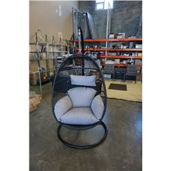 BRAND NEW OUTDOOR MODERN FOLDABLE HANGING CHAIR W/ GREY CUSHIONS - RETAIL $949 AND RATED FOR 300LBS