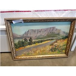 D VILJEON PAINTING TABLE MOUNTAIN OIL ON BOARD