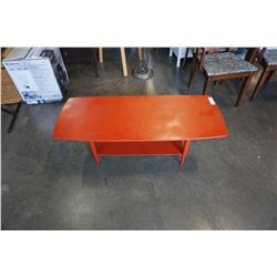 MID CENTURY RED/ORANGE COFFEE TABLE