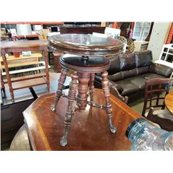 VINTAGE GLASS BALL AND CLAW FOOT ADJUSTABLE STOOL