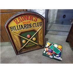 BILLIARDS BALLS AND POOL SIGN