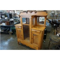 ANTIQUE MAPLE AND GLASS DISPLAY CABINET W/ 3 DRAWERS