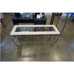 STONE GLASSTOP METAL BASE SOFA TABLE
