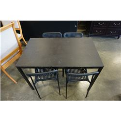 BLACK DINING TABLE AND 4 METAL AND PLASTIC CHAIRS