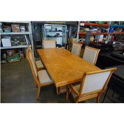 OAK DINING TABLE W/ LEAF AND 6 CHAIRS