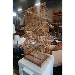 WOOD BIRD CAGE DECORATION
