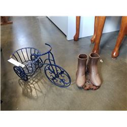 CAST IRON COWBOY BOOTS AND PLANTER STAND