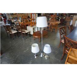 BRUSHED METAL FLOOR LAMP AND PAIR OF BRUSHED METAL TABLE LAMPS