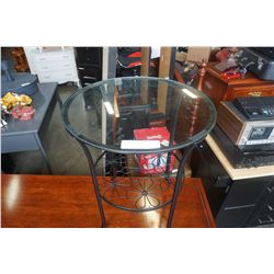 ROUND BLACK GLASS TOP END TABLE