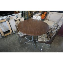 ROUND VINTAGE DINING TABLE W/ 3 SWIVEL CHAIRS