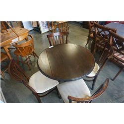 ROUND DROP LEAF DINING TABLE W/ 4 CHAIRS