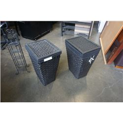 BLACK WOVEN HAMPERS AND SMALL SHELF