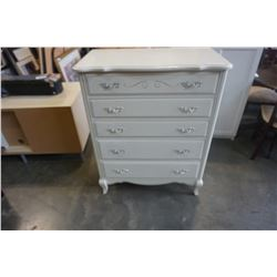 WHITE FRENCH PROVINCIAL 5 DRAWER CHEST OF DRAWERS