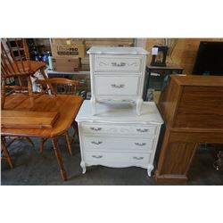 WHITE FRENCH PROVINCIAL 3 DRAWER DRESSER AND 2 DRAWER NIGHT STAND